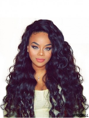 Black Curly 20 inch Without Bangs Remy Human Hair 360 Lace Wigs