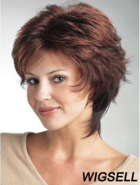 Monofilament Ladies Wigs With Synthetic Wavy Style Layered Cut