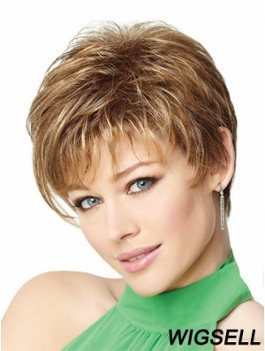 "8"" Cheap Blonde Boycuts Monofilament Wigs"