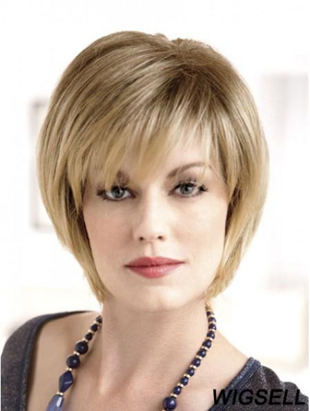 "8"" Sleek Blonde Bobs Monofilament Wigs"
