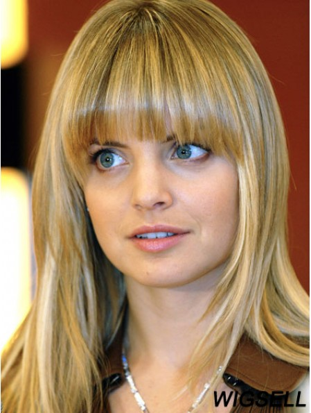 Blonde Long Straight With Bangs 100% Hand-tied Wig For Sale