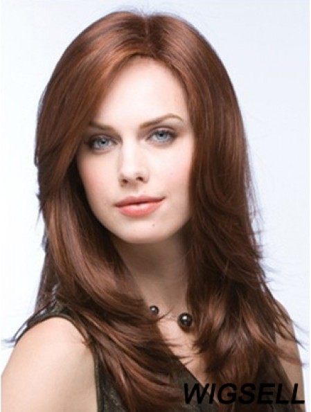 Affordable Monofilament Wigs UK Straight Style Layered Cut Auburn Color
