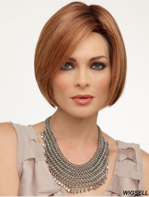 Lace Front Chin Length Straight Auburn Fashionable Bob Wigs