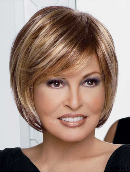 Hairstyles Blonde Chin Length Straight Bobs Monofilament Wigs