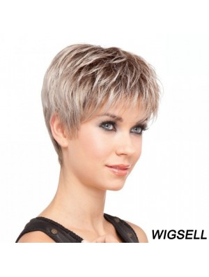 Sassy Blonde Cropped Straight Layered Lace Front Wigs