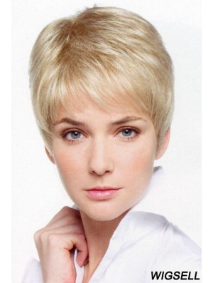Petite Monofilament Wigs With Lace Front Cropped Length Boycuts