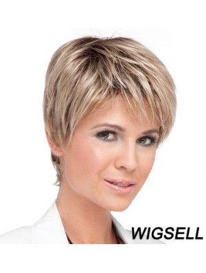 Cheap Blonde Cropped Straight Boycuts Lace Front Wigs