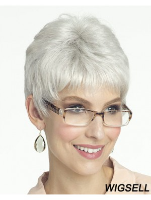Exquisite Short Straight Lace Front Grey Wigs