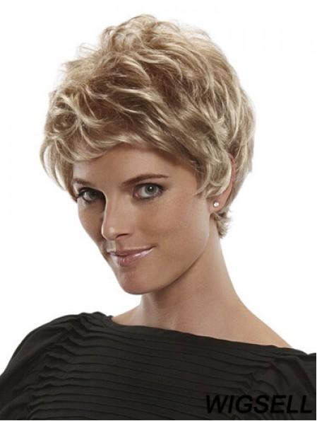 Short Straight Boycuts Blonde Flexibility 100% Hand-tied Wigs