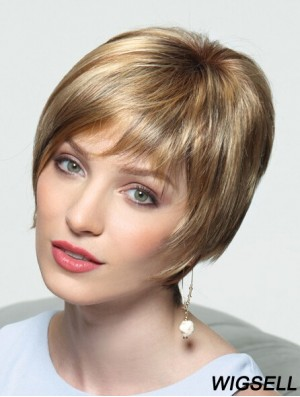 "Layered Short Straight Blonde 8"" Perfect Monofilament Wigs"
