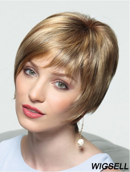 Layered Short Straight Blonde 8 inch Perfect Monofilament Wigs