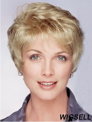 """Layered Short Wavy Blonde 8"""" Ideal Monofilament Wigs"""