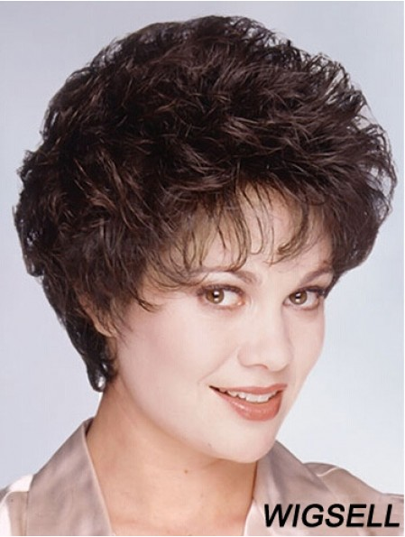 "Layered Short Wavy Brown 8"" Fashionable Monofilament Wigs"