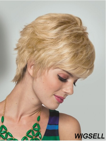 "Boycuts Short Straight Blonde 5"" Convenient Monofilament Wigs"
