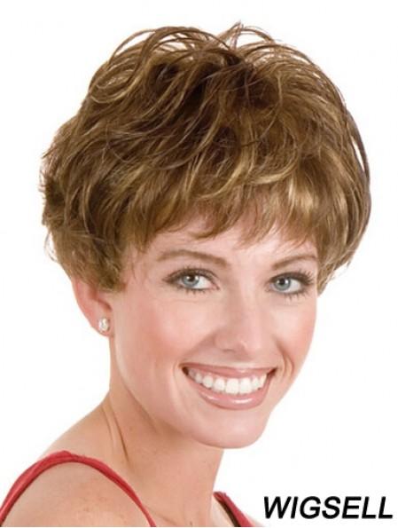 "Layered Short Straight Blonde 5"" Style Monofilament Wigs"
