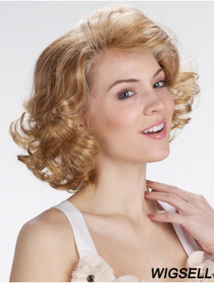 """Blonde 12"""" Exquisite Chin Length Curly Classic Lace Wigs"""