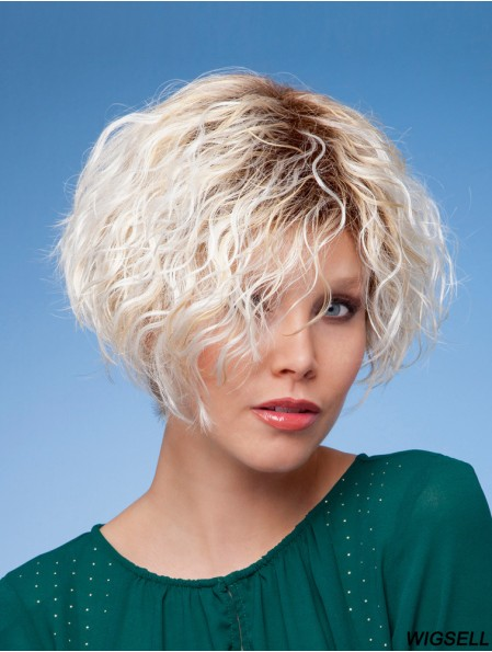 "Layered Short Curly Blonde 6"" Affordable Wigs"