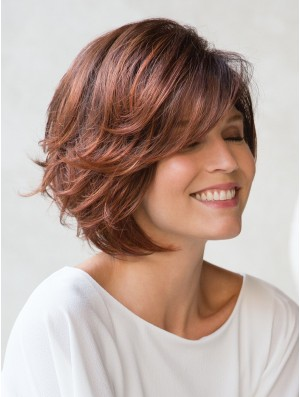 Chin Length Layered Wig Short Red Bob Wig UK Natural Capless Wig