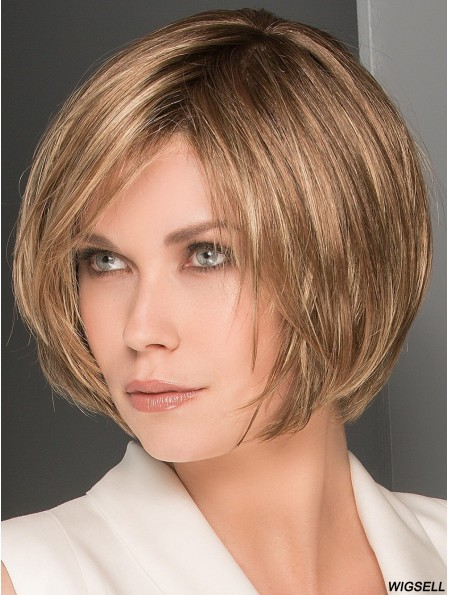 10 inch Chin Length 100% Hand-tied Brown Wig Bob Style