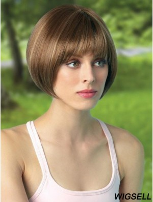 8 inch Cropped Monofilament Brown Bob Cut Wigs