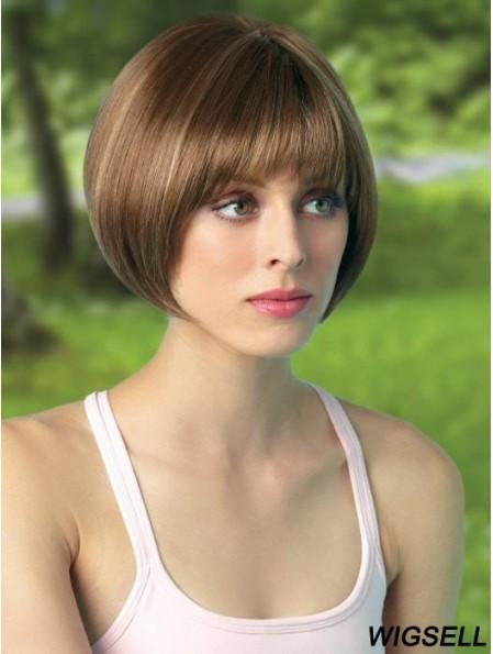 8 inch Cropped Monofilament Brown Bob Cut Wigs
