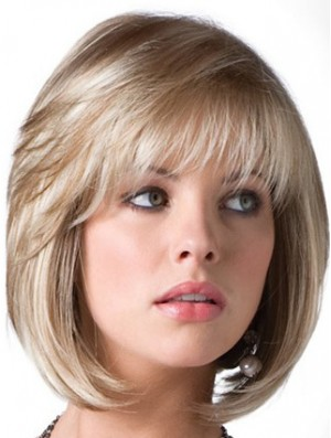 Bob Wig Blonde Wig UK With Bangs Chin Length