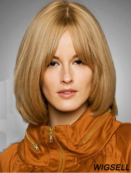 Wig Bob Style Chin Length Blonde Color Straight Style