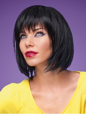 "Straight Chin Length Black 11"" Monofilament Discount Bob Wigs"