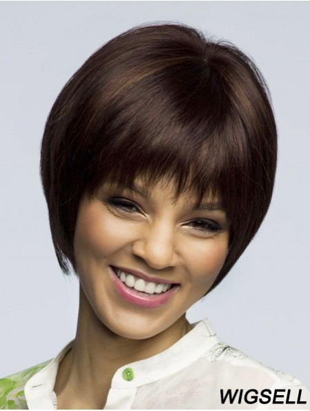 Straight Short Brown 8 inch 100% Hand-tied Fashion Bob Wigs