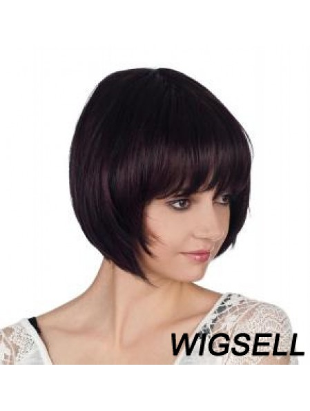 Straight Chin Length Auburn 10 inch Capless Cheap Bob Wigs