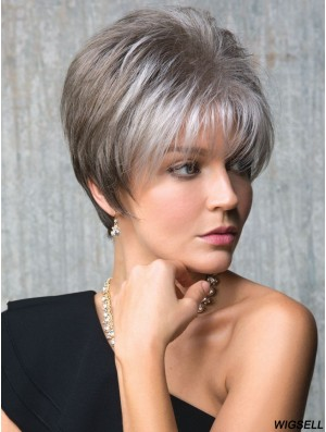 Capless Straight Cropped 6 inch Cheap Grey Wigs