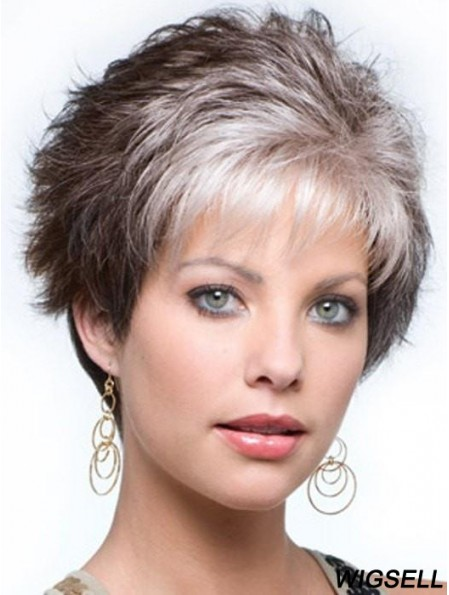 Capless Curly Cropped 4 inch Salt And Pepper Grey Wigs