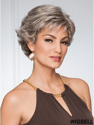 Capless Curly Cropped 5 inch Grey Wigs