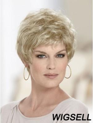 Boycuts Wavy Blonde Capless Discount Short Wigs