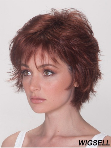 Best Wigs With Synthetic Capless Auburn Color Straight Style