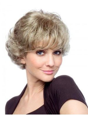 Curly With Bangs Short Affordable Blonde Synthetic Wigs