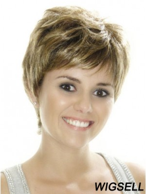 Boycuts Straight Brown Capless Great Short Wigs
