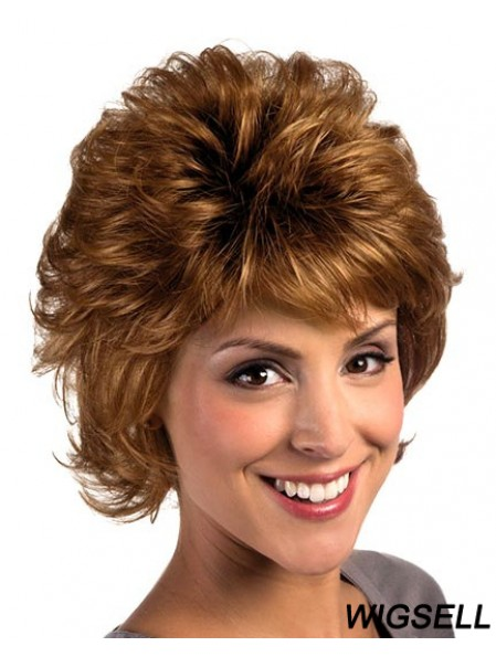 9 inch Popular Curly With Bangs Auburn Short Wigs