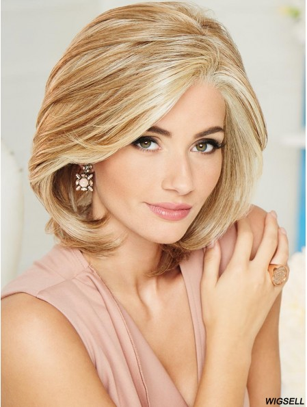 Blonde Chin Length Wig UK Hand Tied Wavy Wig Classic 10 Inch