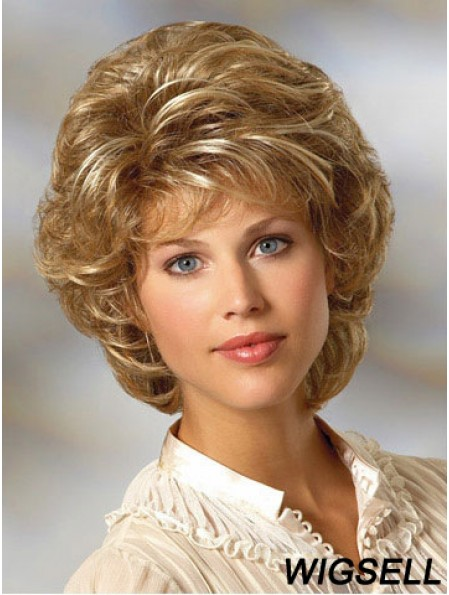 Curly Blonde Wig Classic Cut Chin Length With Capless