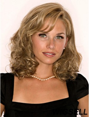 Half Wig With Remy Blonde Color Shoulder Length Wavy Style