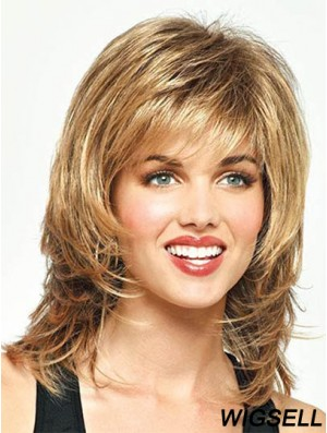 Cheap Straight Blonde Shoulder Length With Bangs Medium Wigs