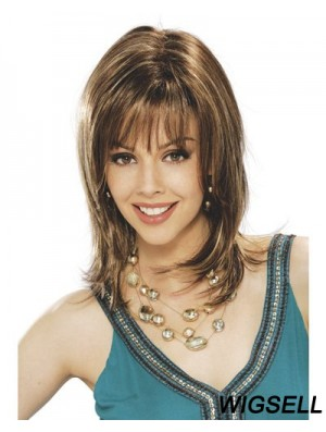Gorgeous Straight Brown Shoulder Length With Bangs Medium Wigs