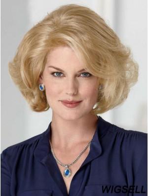 Blonde Wigs Cheap Chin Length Wavy Style Classic Cut