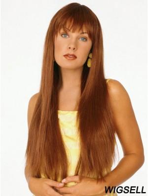 Good Auburn Straight With Bangs Capless Long Wigs