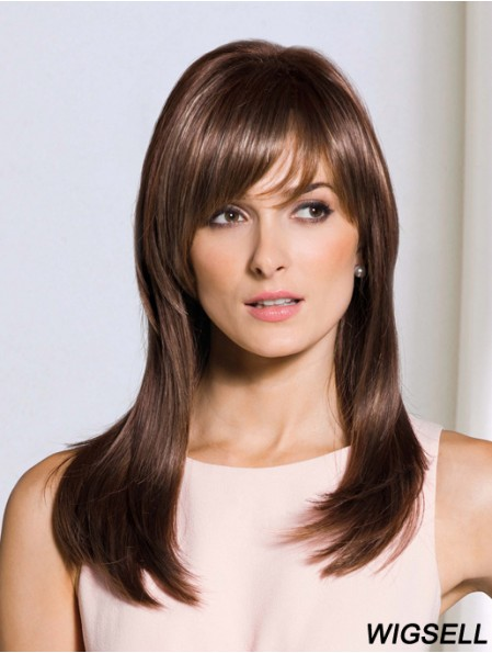 Durable Brown Straight With Bangs Capless Long Wigs