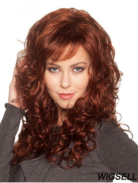 Exquisite Auburn Curly With Bangs Capless Long Wigs