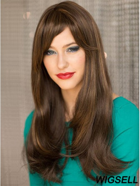 Affordable Brown Straight With Bangs Capless Long Wigs