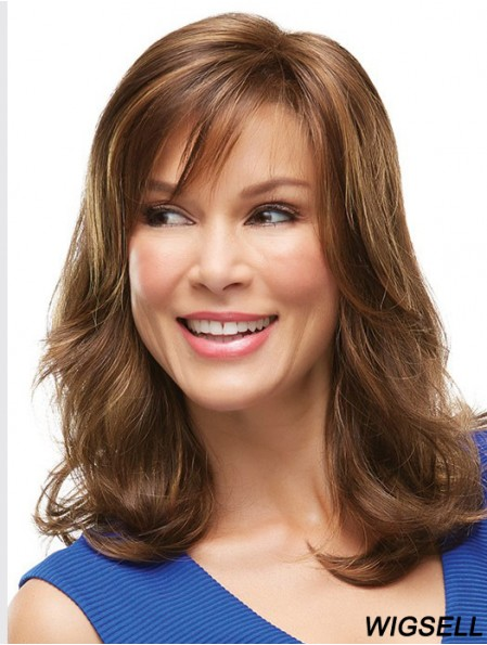 No-Fuss Blonde Wavy With Bangs Lace Front Long Wigs
