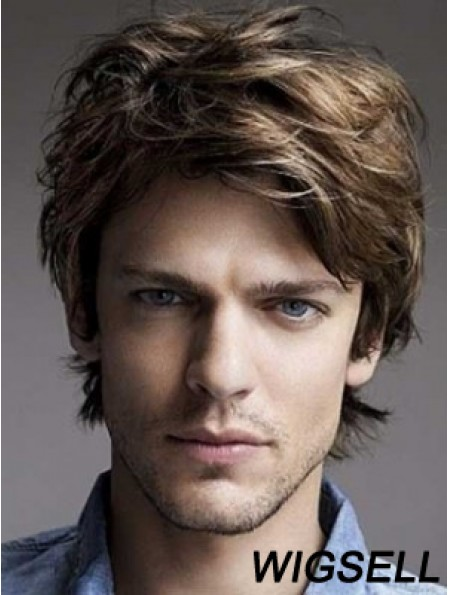 Men Wig Brown Hair Lace Front Human Hir Wig Short Layered Wig UK